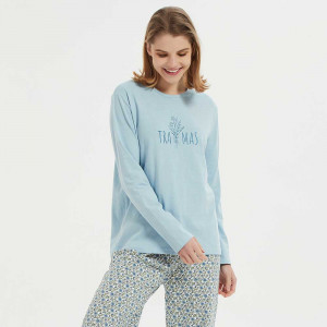 Pijama algodão Irene azul