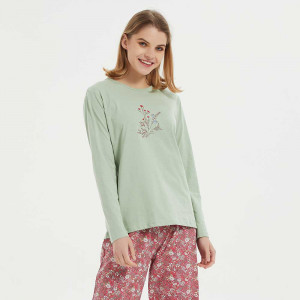 Pijama algodão Victoria verde