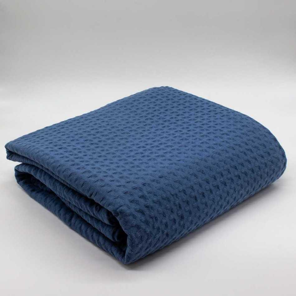 Colcha manta multiusos algodão geométrico azul marinho colchas-multiusos