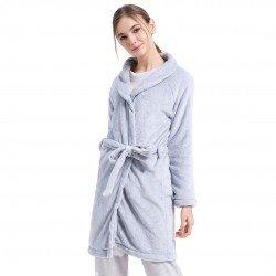Roupão veludo liso cinza robe