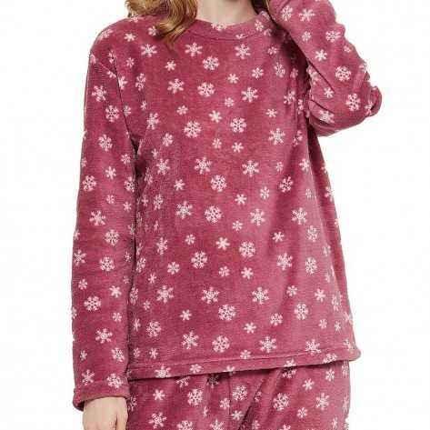 Pijama coral Snow grená pijama-inverno