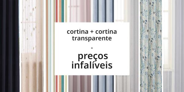 Cortinas + cortinas transparentes ao melhor preço