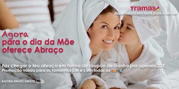 PROMOÇÃO TERMINADA Para o dia da Mãe oferece abraço em forma de roupão de banho por apenas 22€.